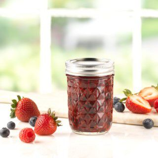 12 Count 8 Ounces Regular Mouth Ball Quilted Crystal Jelly Jar with Lid and Band